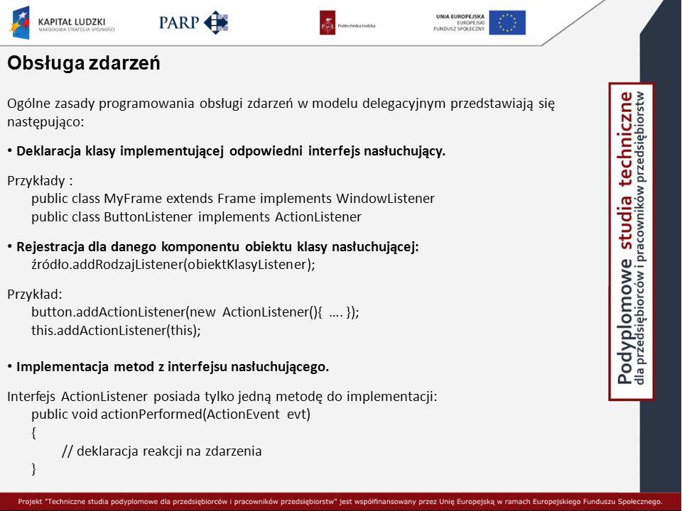 Obsługa zdarzeń Ogólne zasady programowania obsługi zdarzeń w modelu delegacyjnym przedstawiają się następująco:
