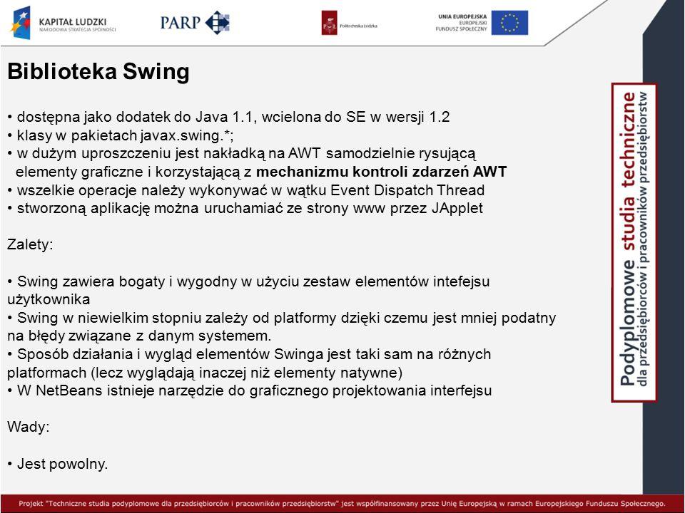Biblioteka Swing dostępna jako dodatek do Java 1.1, wcielona do SE w wersji 1.2. klasy w pakietach javax.swing.*;