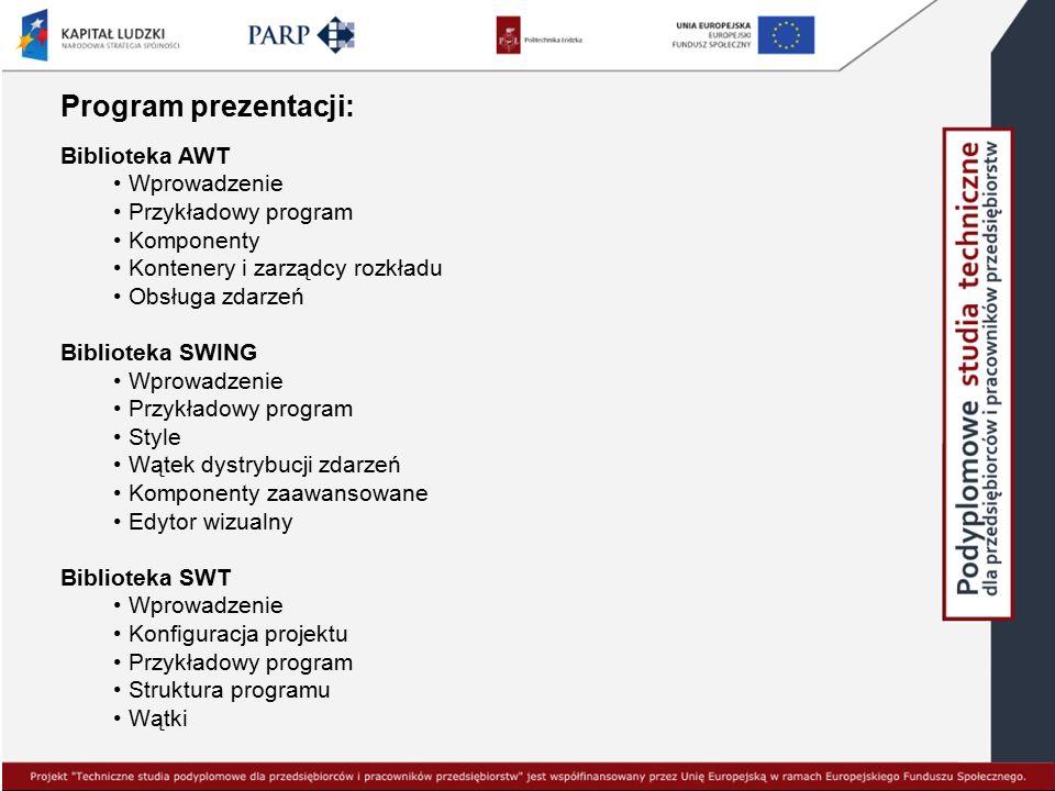 Program prezentacji: Biblioteka AWT Wprowadzenie Przykładowy program