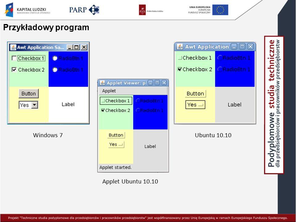 Przykładowy program Windows 7 Ubuntu 10.10 Applet Ubuntu 10.10
