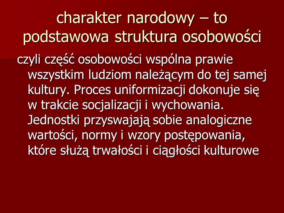 charakter narodowy – to podstawowa struktura osobowości