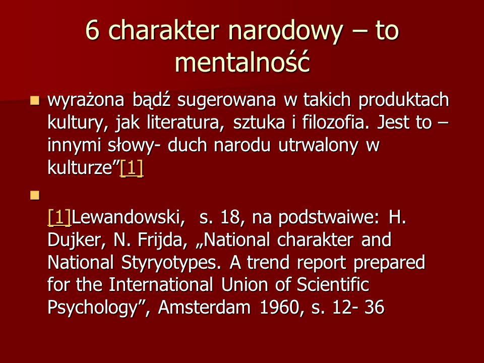 6 charakter narodowy – to mentalność