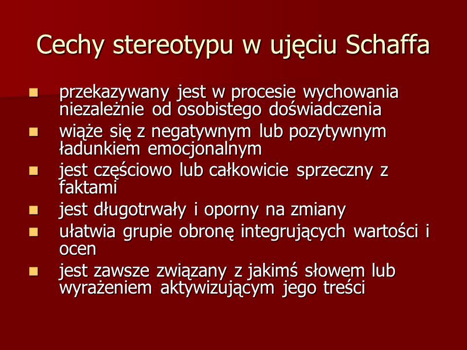 Cechy stereotypu w ujęciu Schaffa