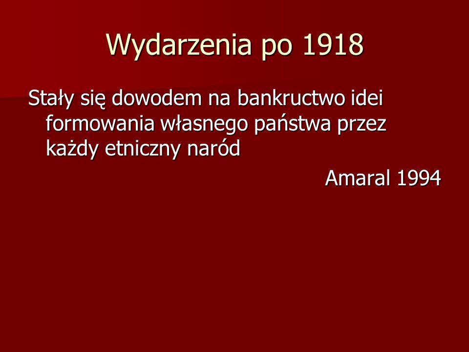Wydarzenia po 1918 Stały się dowodem na bankructwo idei formowania własnego państwa przez każdy etniczny naród.