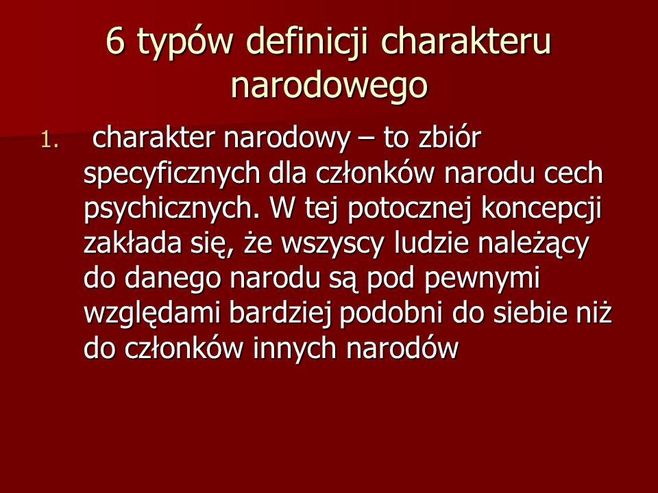 6 typów definicji charakteru narodowego