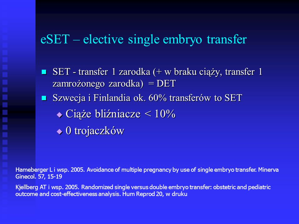 eSET – elective single embryo transfer