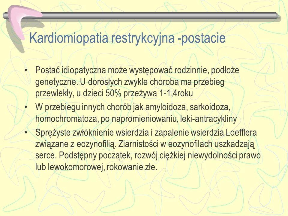 Kardiomiopatia restrykcyjna -postacie