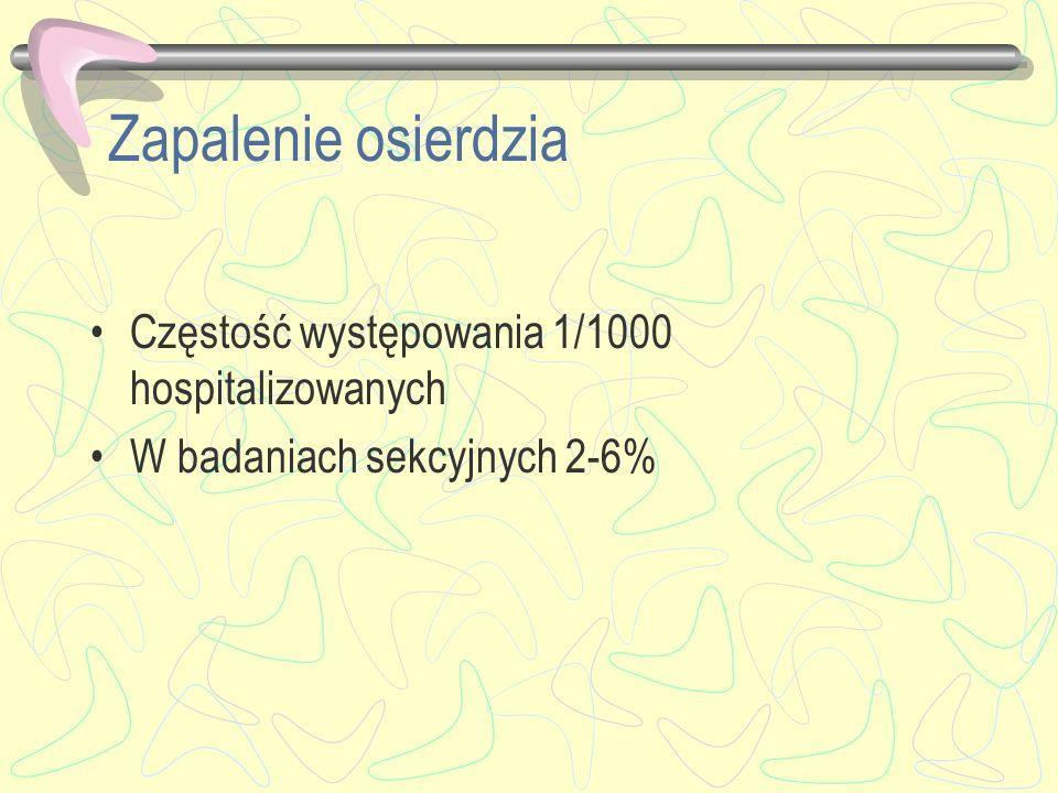Zapalenie osierdzia Częstość występowania 1/1000 hospitalizowanych