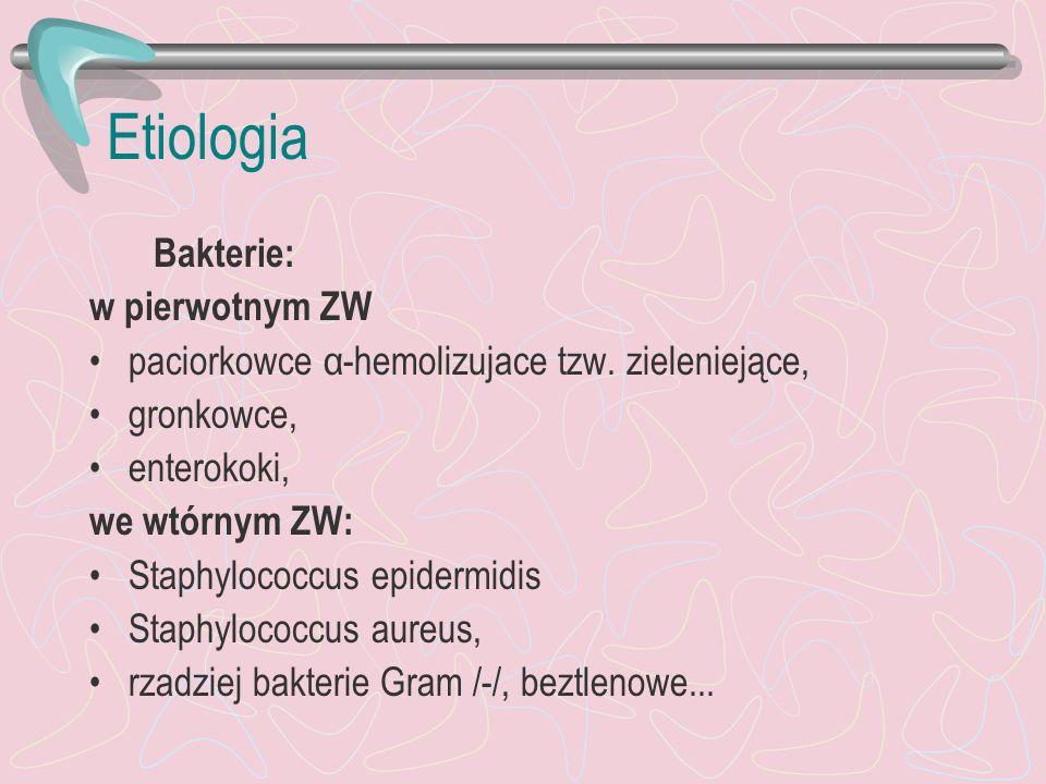 Etiologia Bakterie: w pierwotnym ZW