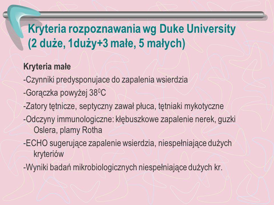 Kryteria rozpoznawania wg Duke University (2 duże, 1duży+3 małe, 5 małych)