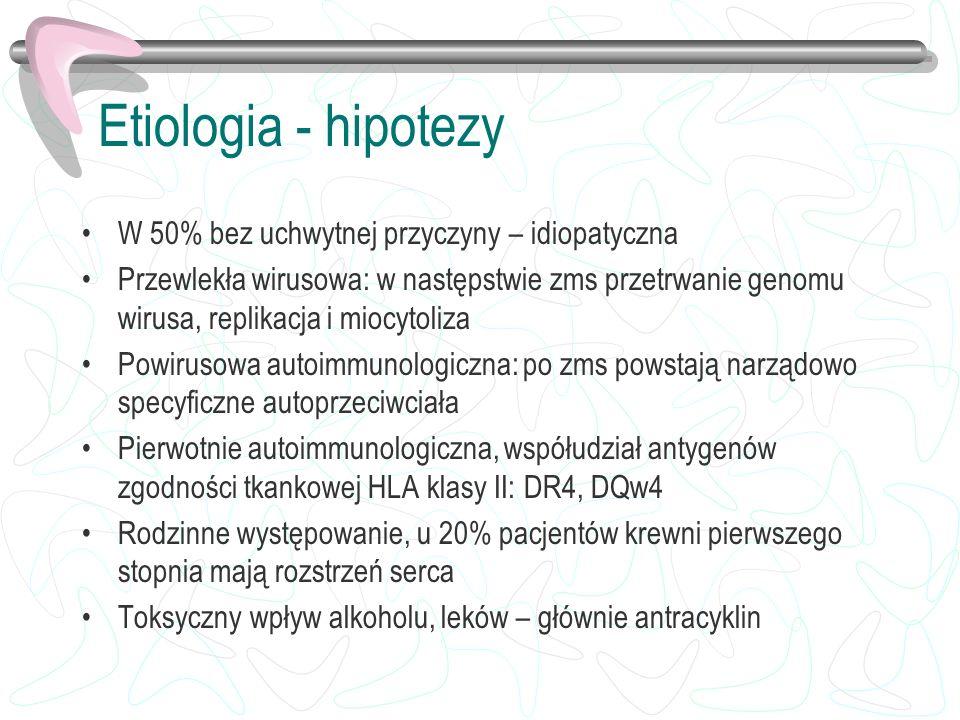 Etiologia - hipotezy W 50% bez uchwytnej przyczyny – idiopatyczna