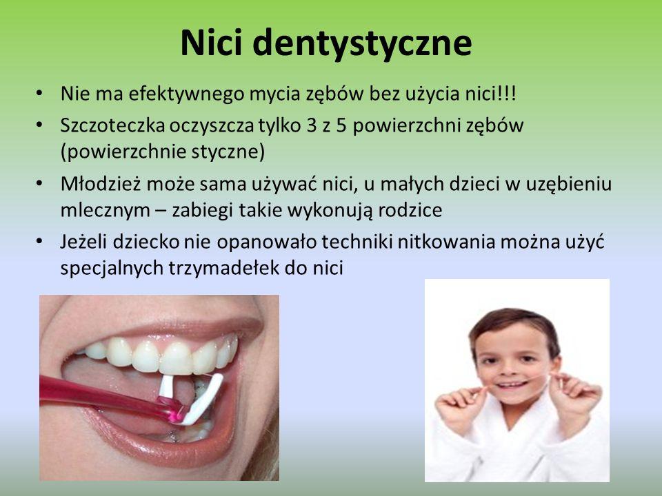 Nici dentystyczne Nie ma efektywnego mycia zębów bez użycia nici!!!