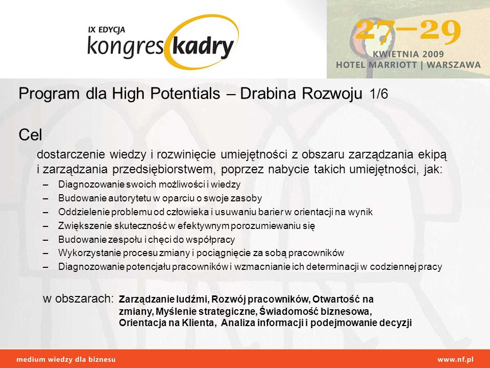 Program dla High Potentials – Drabina Rozwoju 1/6 Cel