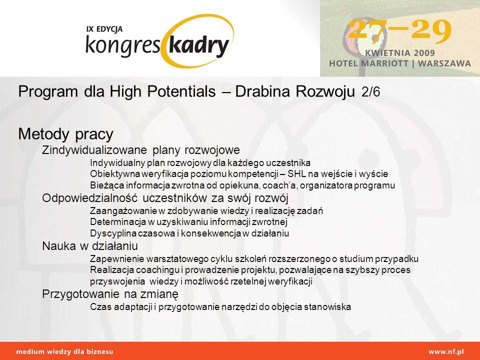 Program dla High Potentials – Drabina Rozwoju 2/6 Metody pracy