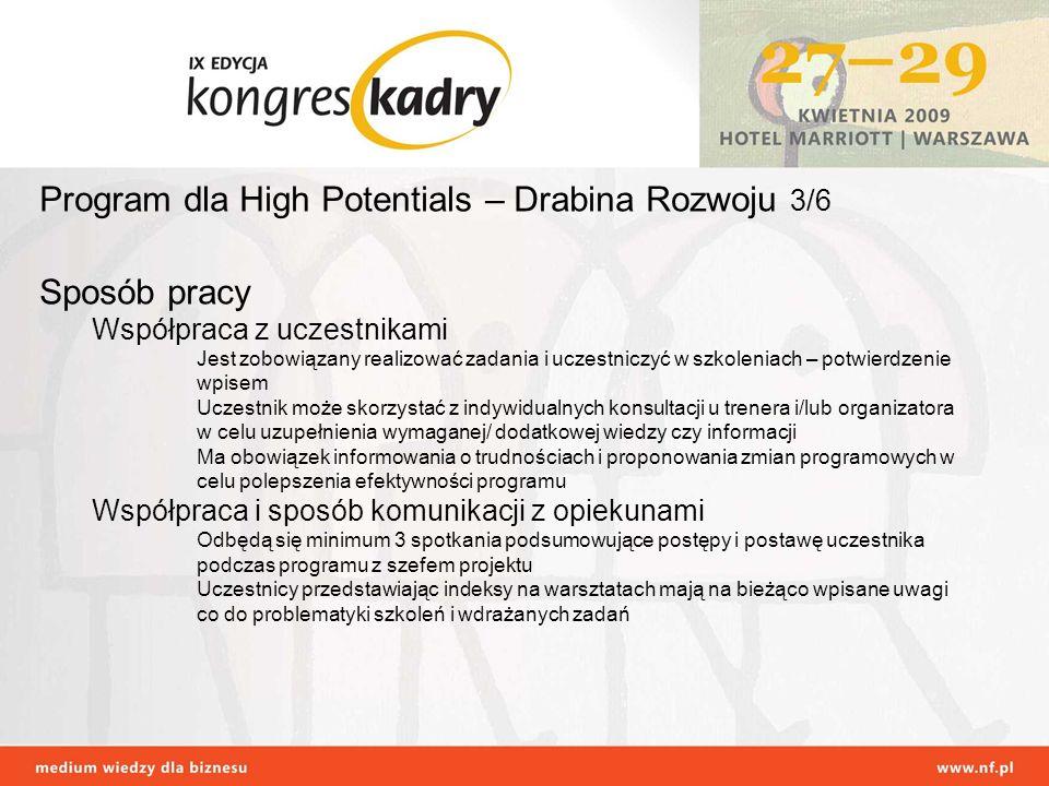 Program dla High Potentials – Drabina Rozwoju 3/6 Sposób pracy