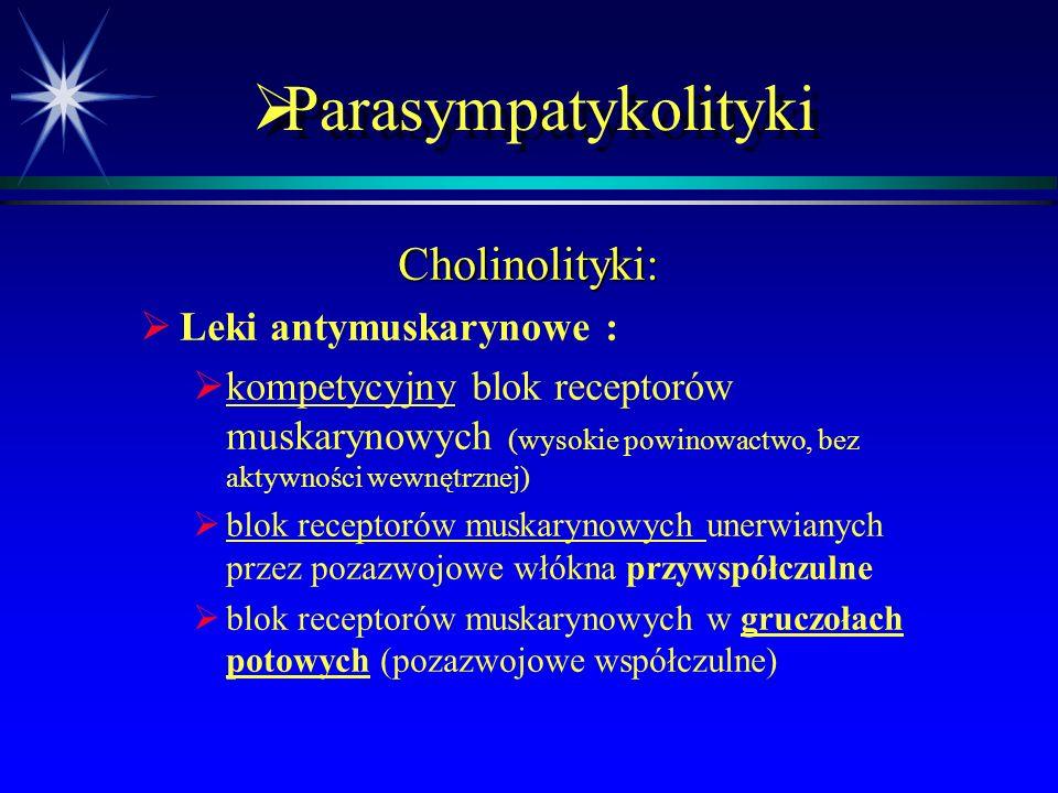 Parasympatykolityki Cholinolityki: Leki antymuskarynowe :