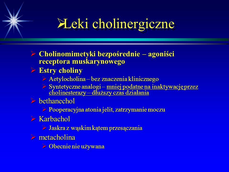 Leki cholinergiczne Cholinomimetyki bezpośrednie – agoniści receptora muskarynowego. Estry choliny.