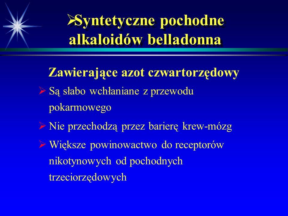 Syntetyczne pochodne alkaloidów belladonna