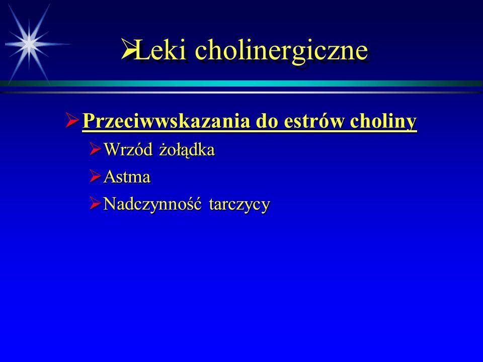 Leki cholinergiczne Przeciwwskazania do estrów choliny Wrzód żołądka