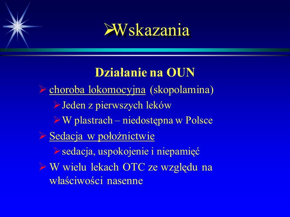 Wskazania Działanie na OUN choroba lokomocyjna (skopolamina)