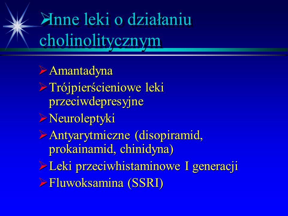 Inne leki o działaniu cholinolitycznym