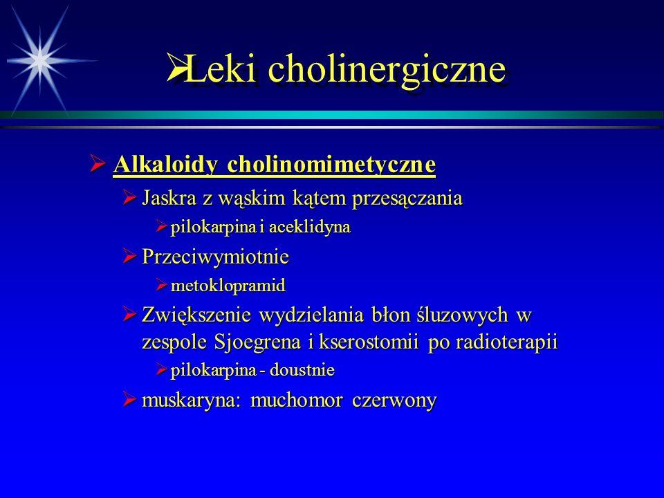 Leki cholinergiczne Alkaloidy cholinomimetyczne