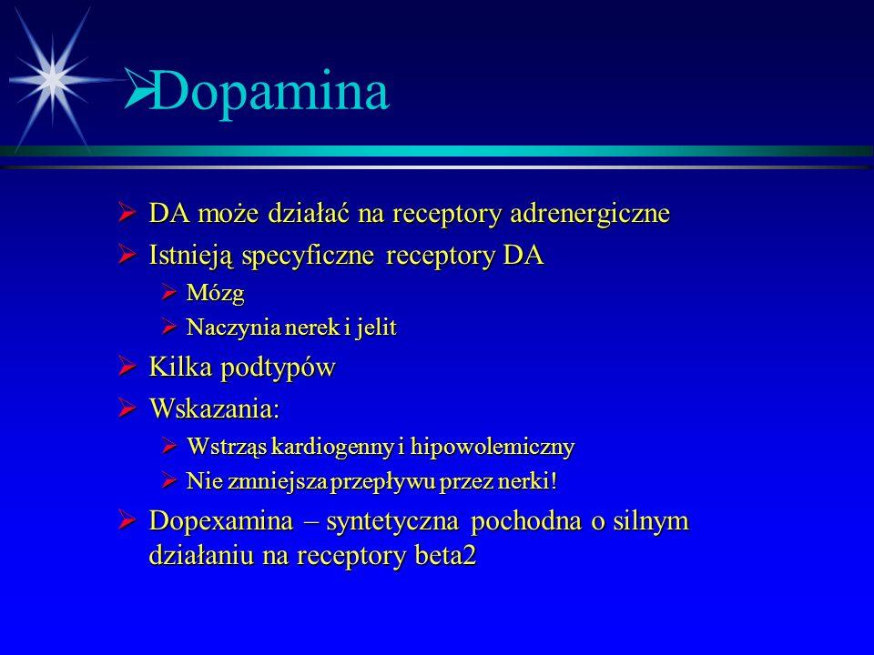 Dopamina DA może działać na receptory adrenergiczne