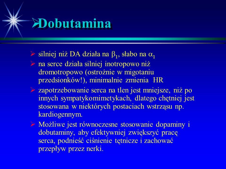 Dobutamina silniej niż DA działa na 1, słabo na 1
