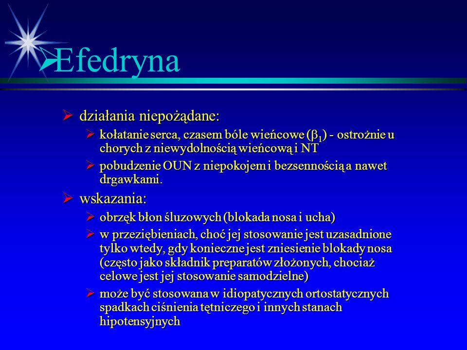 Efedryna działania niepożądane: wskazania: