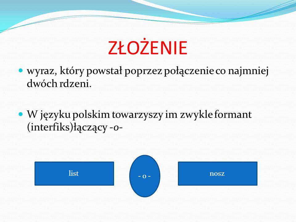 ZŁOŻENIE wyraz, który powstał poprzez połączenie co najmniej dwóch rdzeni. W języku polskim towarzyszy im zwykle formant (interfiks)łączący -o-