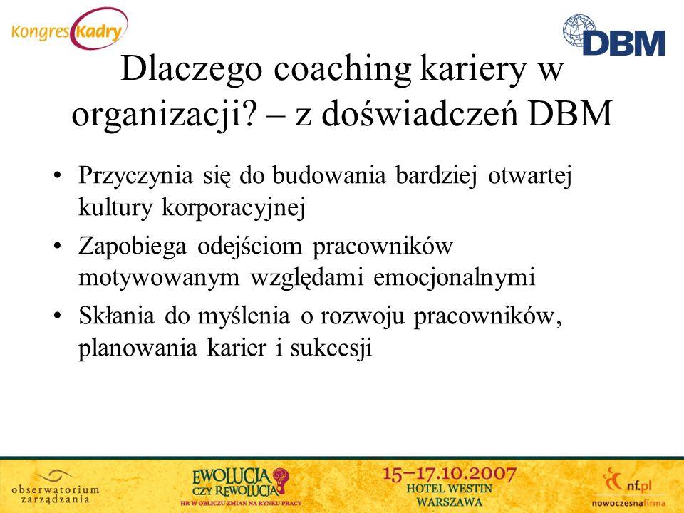 Dlaczego coaching kariery w organizacji – z doświadczeń DBM