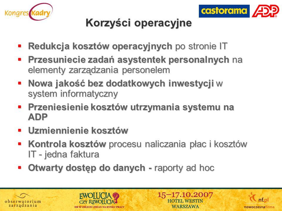 Korzyści operacyjne Redukcja kosztów operacyjnych po stronie IT