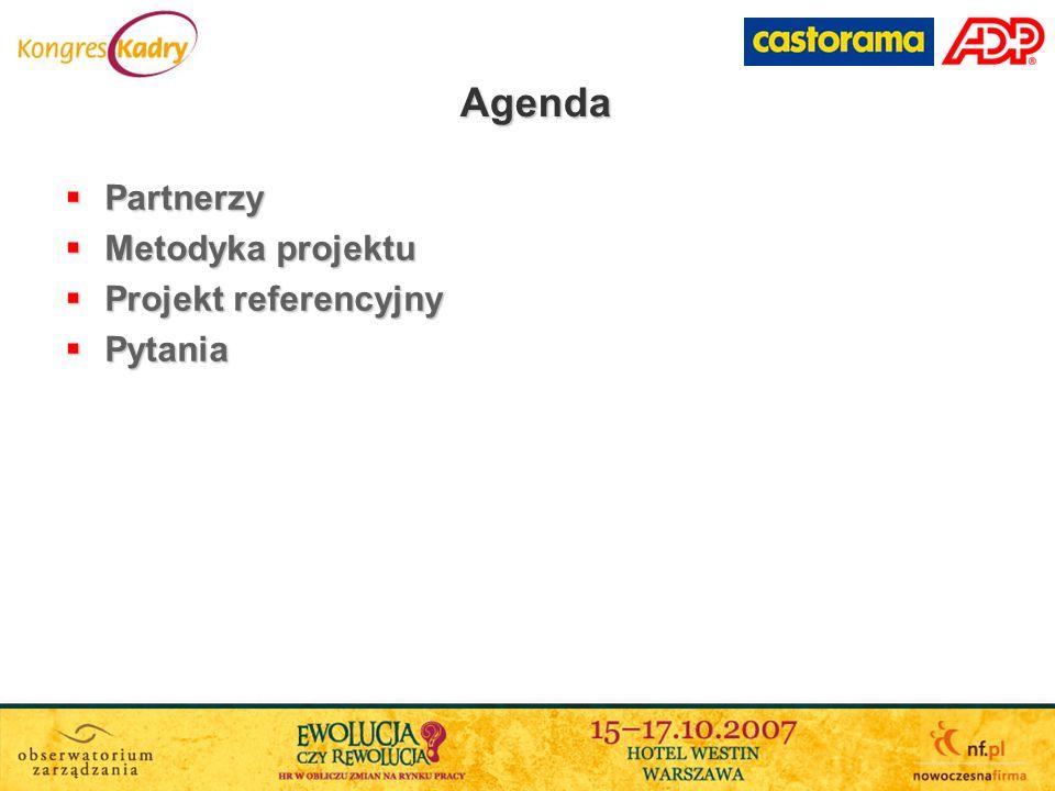 Agenda Partnerzy Metodyka projektu Projekt referencyjny Pytania