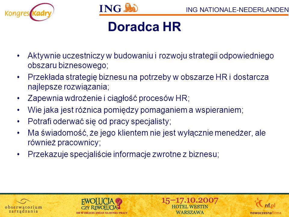 Doradca HR Aktywnie uczestniczy w budowaniu i rozwoju strategii odpowiedniego obszaru biznesowego;