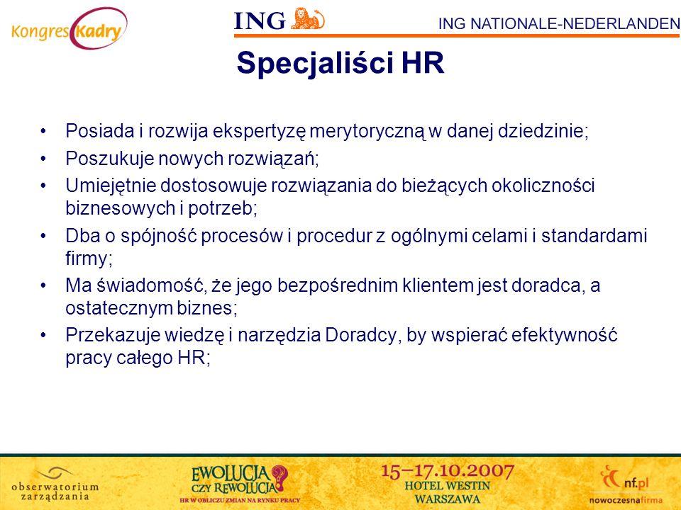 Specjaliści HR Posiada i rozwija ekspertyzę merytoryczną w danej dziedzinie; Poszukuje nowych rozwiązań;