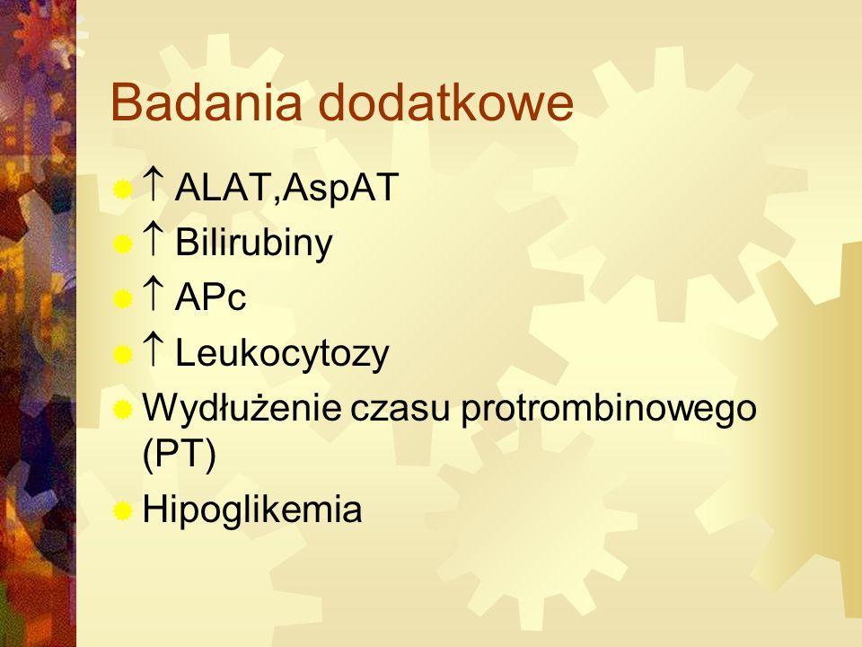 Badania dodatkowe  ALAT,AspAT  Bilirubiny  APc  Leukocytozy