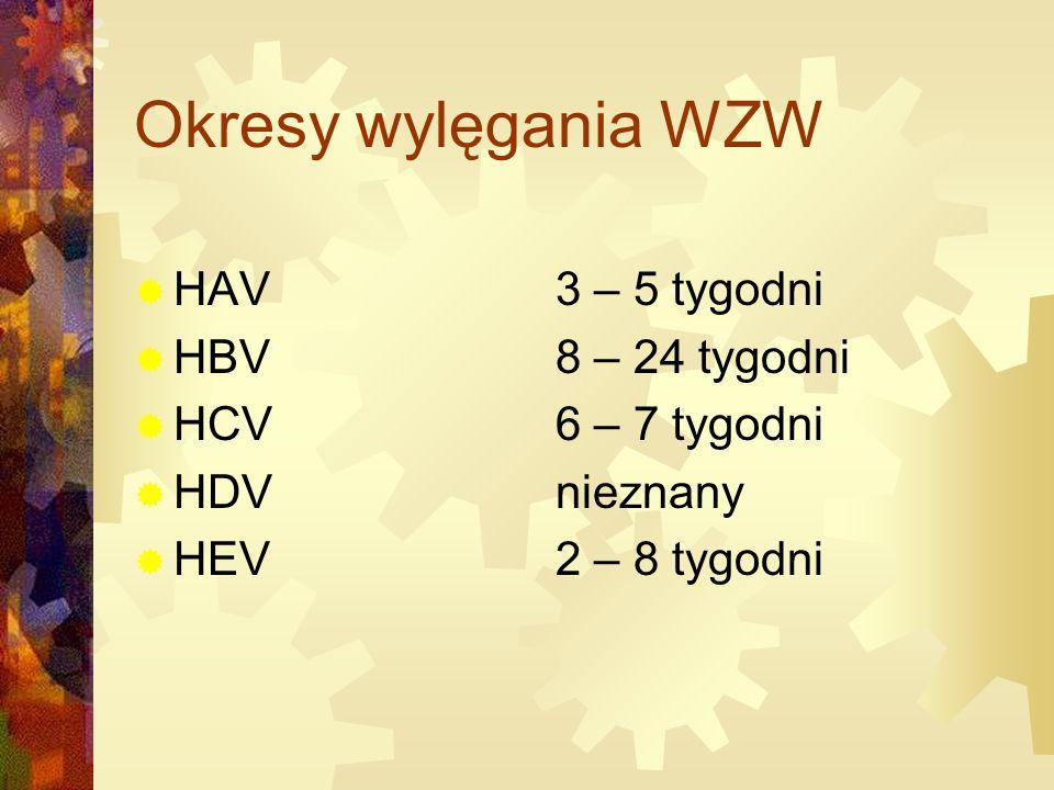 Okresy wylęgania WZW HAV 3 – 5 tygodni HBV 8 – 24 tygodni