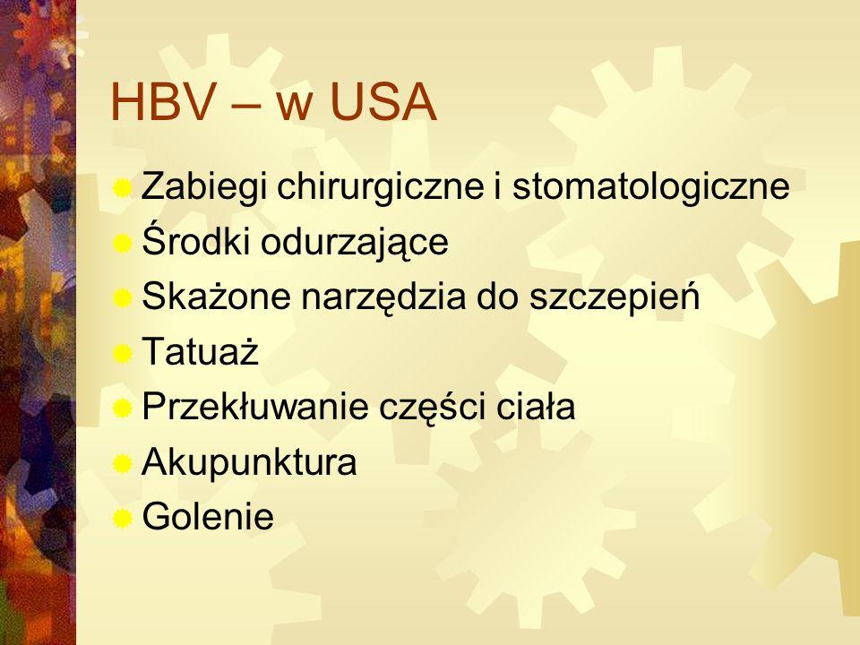 HBV – w USA Zabiegi chirurgiczne i stomatologiczne Środki odurzające