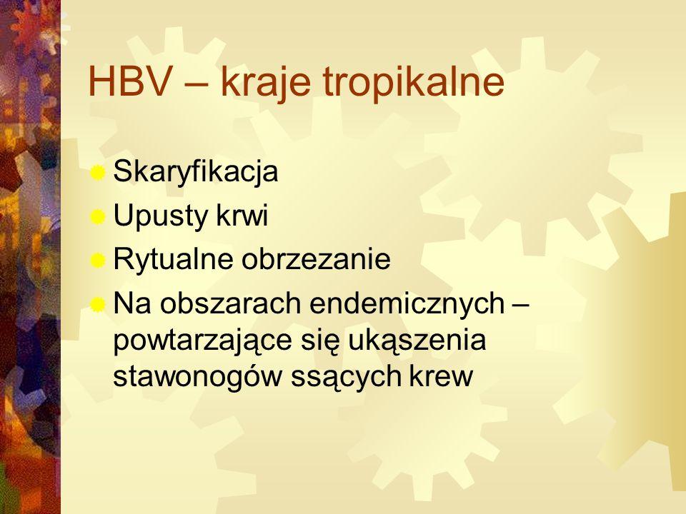 HBV – kraje tropikalne Skaryfikacja Upusty krwi Rytualne obrzezanie