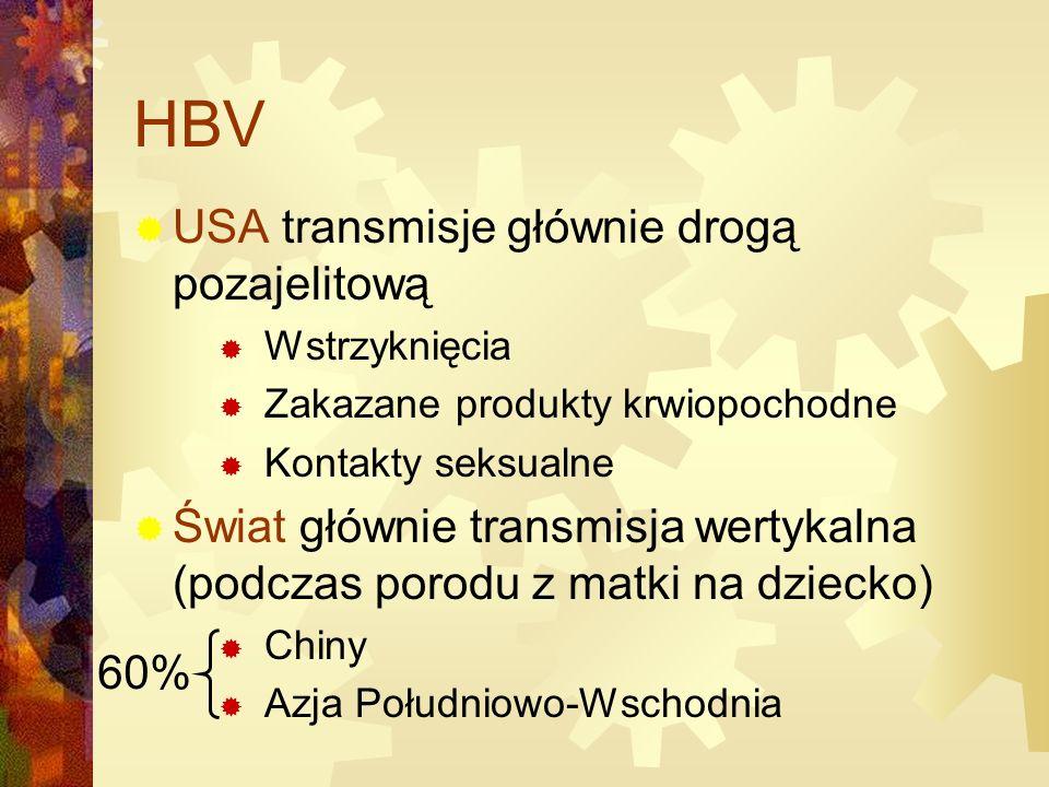 HBV USA transmisje głównie drogą pozajelitową