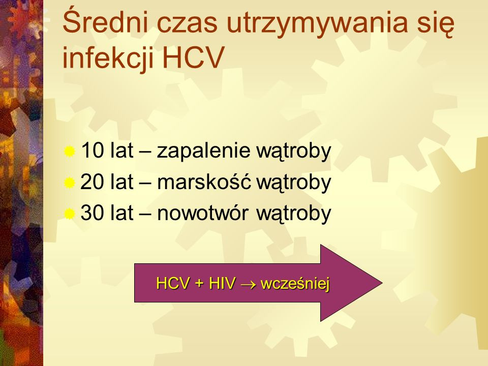 Średni czas utrzymywania się infekcji HCV