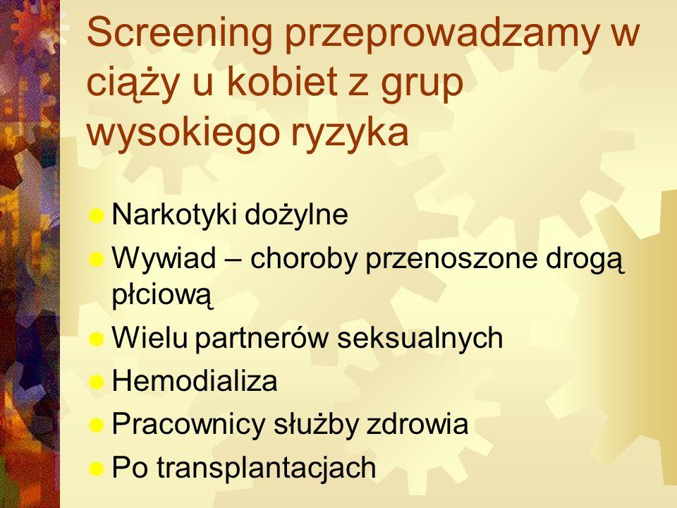 Screening przeprowadzamy w ciąży u kobiet z grup wysokiego ryzyka