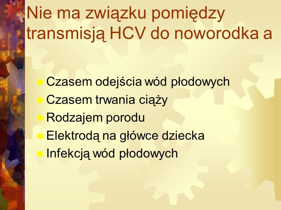 Nie ma związku pomiędzy transmisją HCV do noworodka a
