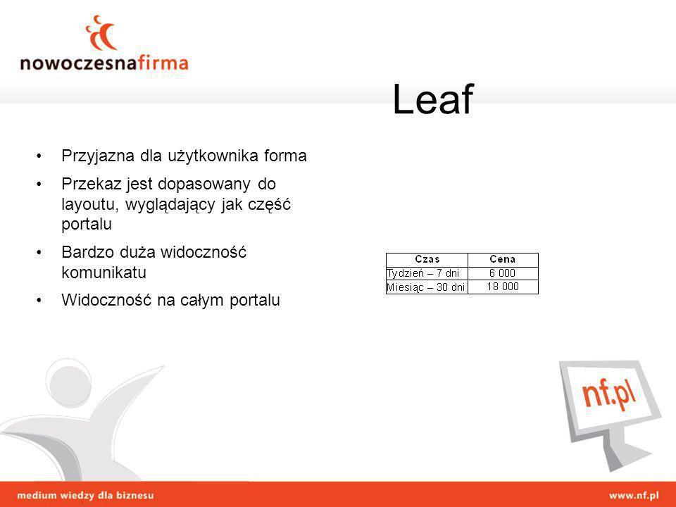 Leaf Przyjazna dla użytkownika forma