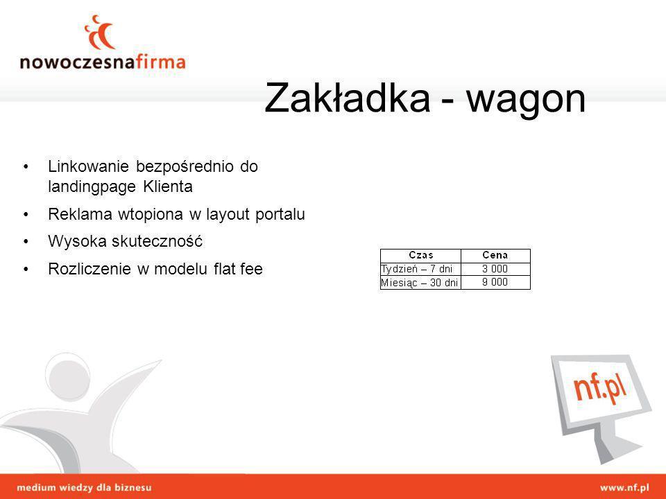 Zakładka - wagon Linkowanie bezpośrednio do landingpage Klienta
