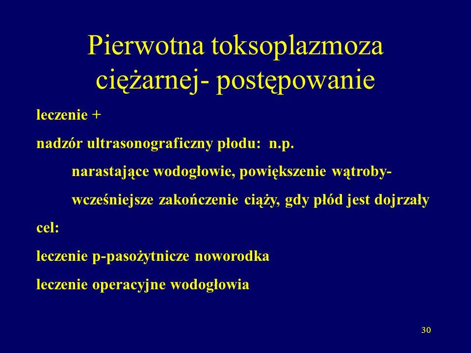 Pierwotna toksoplazmoza ciężarnej- postępowanie