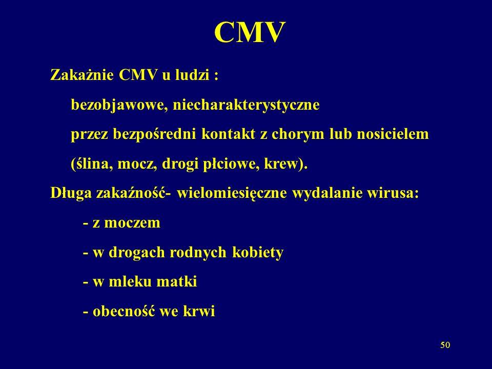 CMV Zakażnie CMV u ludzi : bezobjawowe, niecharakterystyczne