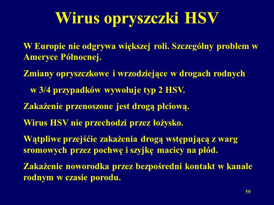 Wirus opryszczki HSV W Europie nie odgrywa większej roli. Szczególny problem w Ameryce Północnej.