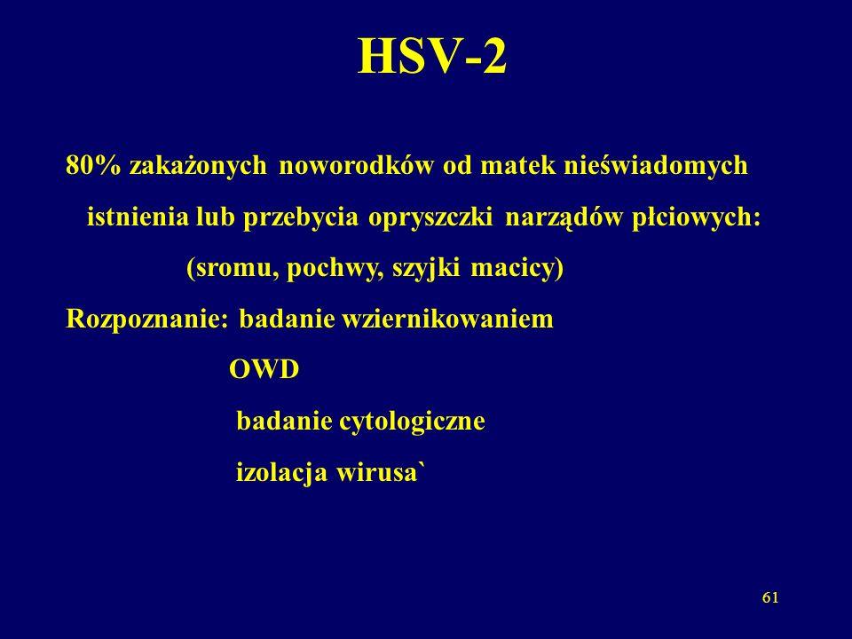HSV-2 80% zakażonych noworodków od matek nieświadomych