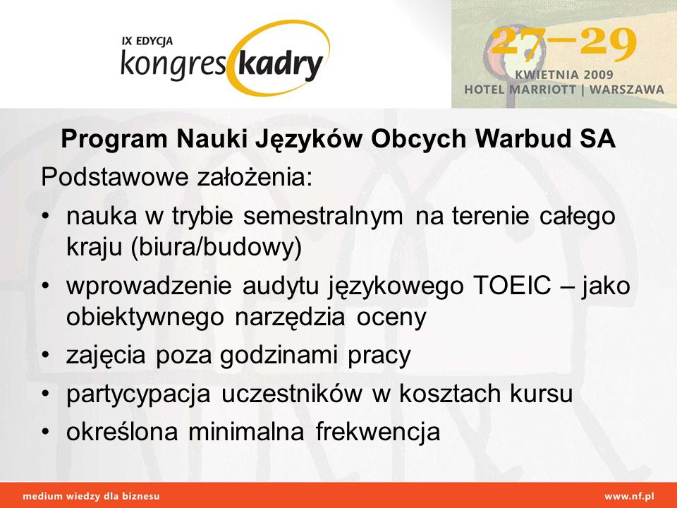 Program Nauki Języków Obcych Warbud SA